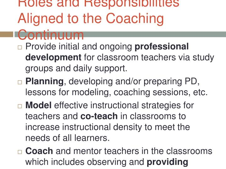 Roles and Responsibilities Aligned to the Coaching Continuum