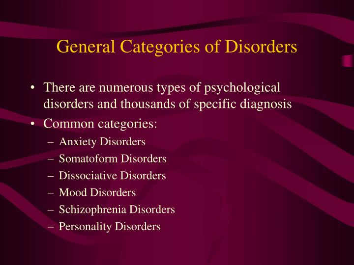 General categories of disorders