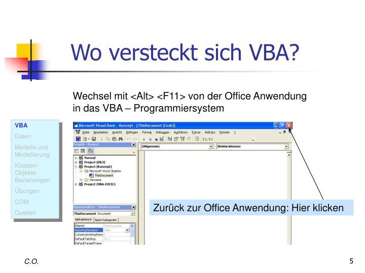 Wo versteckt sich VBA?