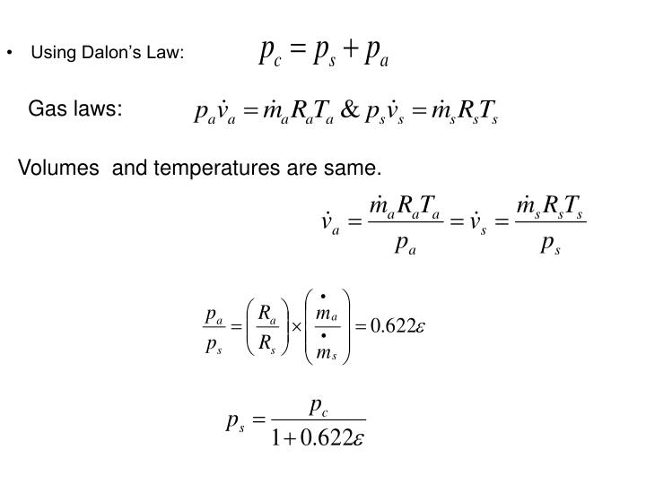 Using Dalon's Law: