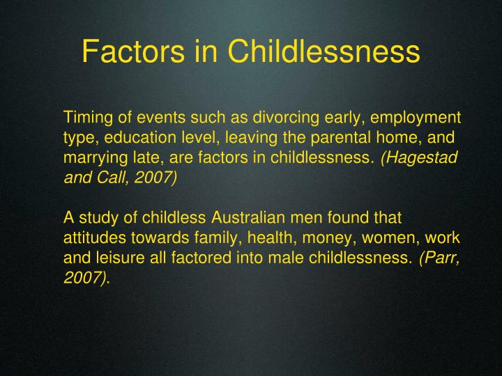 Factors in Childlessness