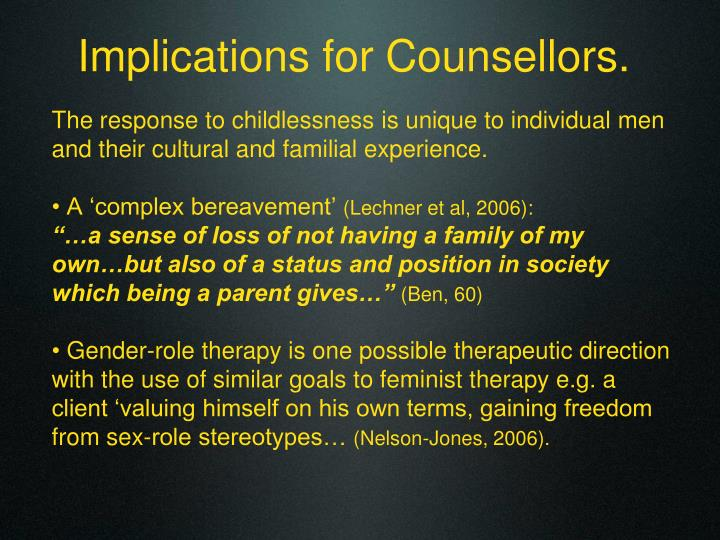 Implications for Counsellors.