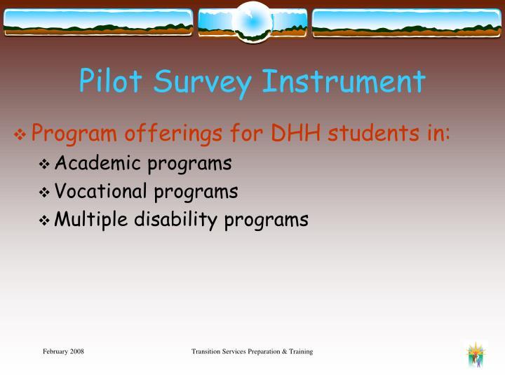 Pilot Survey Instrument
