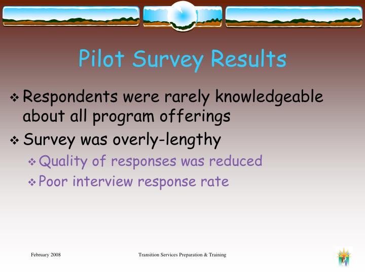 Pilot Survey Results