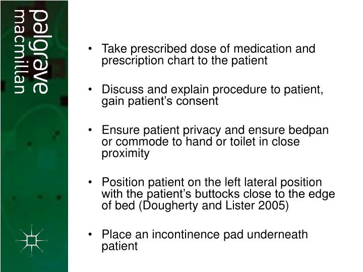 Take prescribed dose of medication and prescription chart to the patient