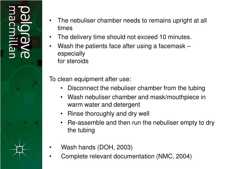 The nebuliser chamber needs to remains upright at all times