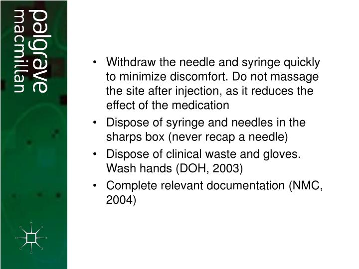 Withdraw the needle and syringe quickly to minimize discomfort. Do not massage the site after injection, as it reduces the effect of the medication
