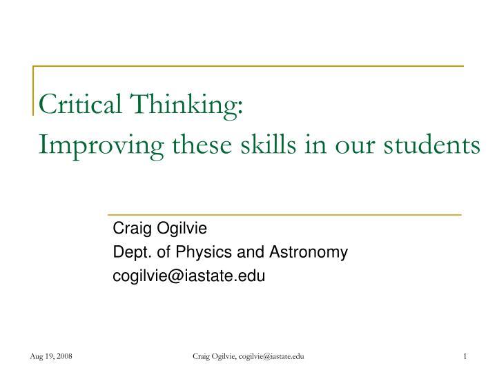 Critical Thinking: