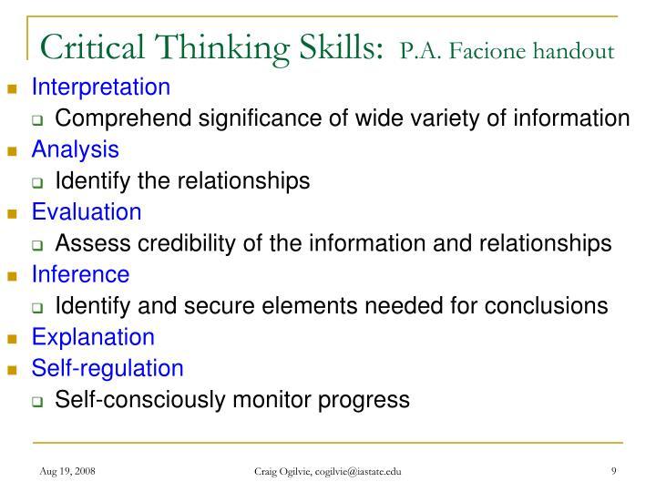 Critical Thinking Skills: