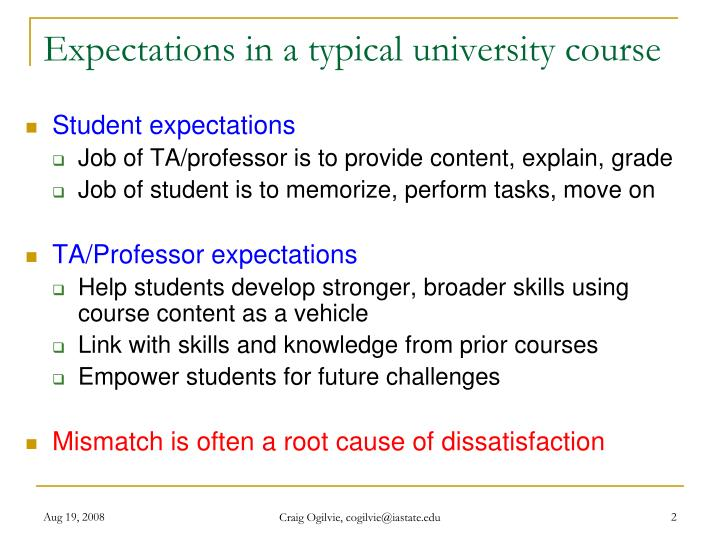 Expectations in a typical university course
