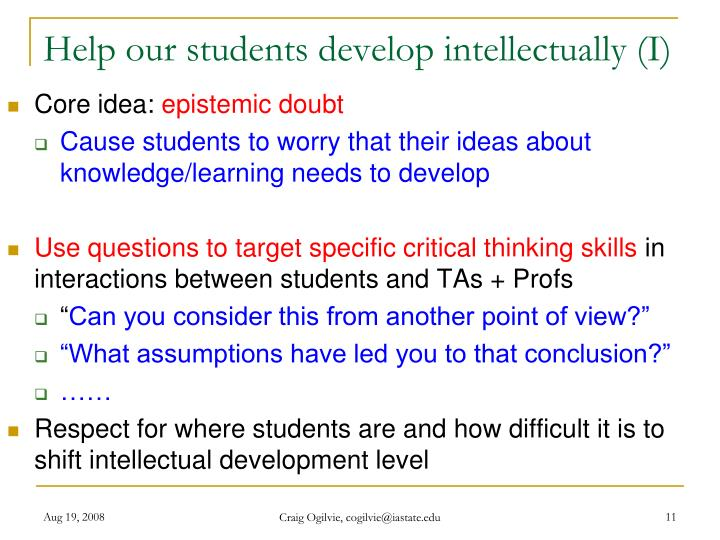 Help our students develop intellectually (I)