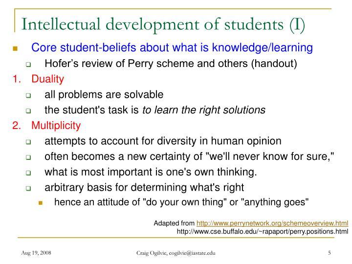 Intellectual development of students (I)