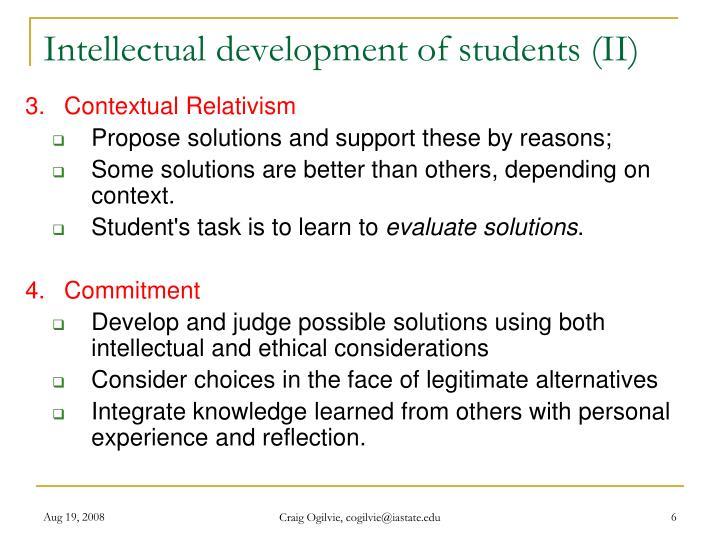 Intellectual development of students (II)