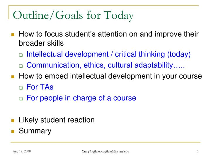 Outline/Goals for Today