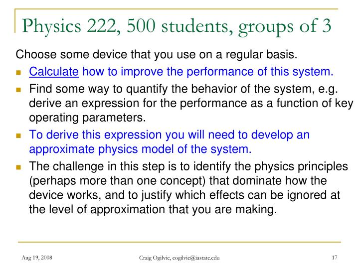 Physics 222, 500 students, groups of 3