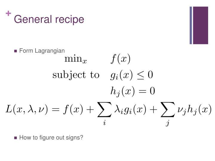 General recipe