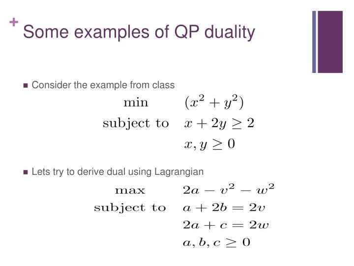 Some examples of QP duality