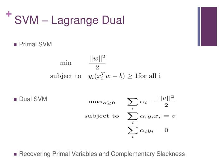 SVM – Lagrange Dual