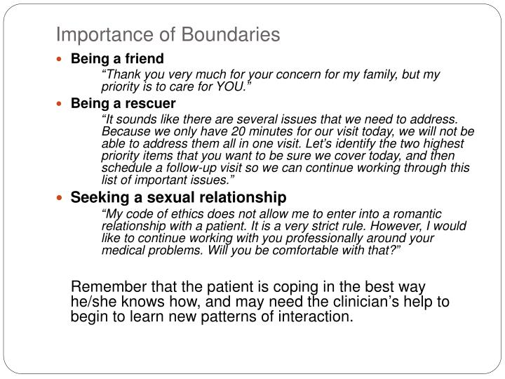 Importance of Boundaries