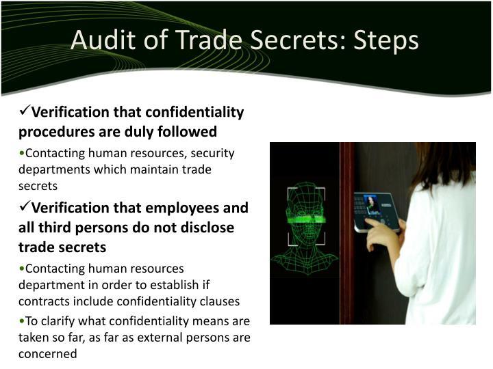Audit of Trade Secrets: Steps