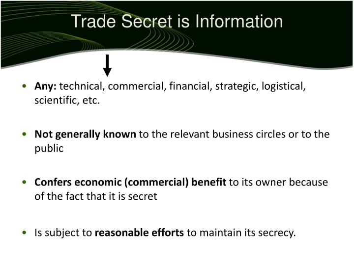 Trade Secret is Information