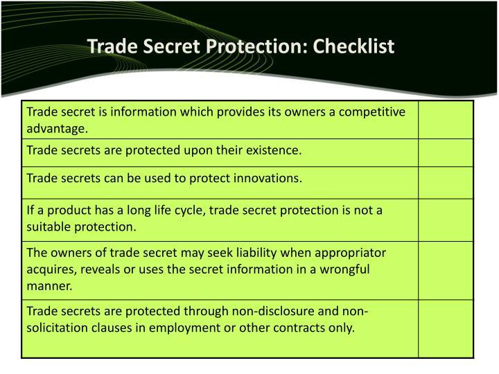 Trade Secret Protection: Checklist