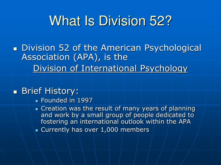What Is Division 52?