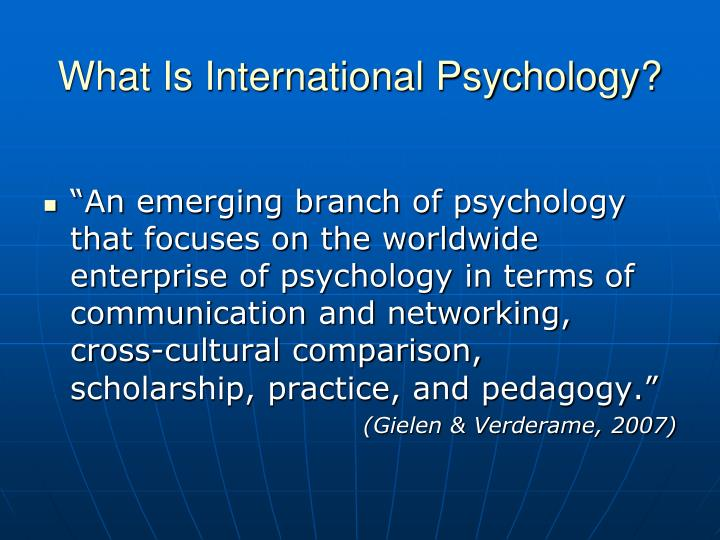 What Is International Psychology?