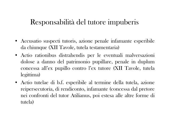 Responsabilità del tutore impuberis