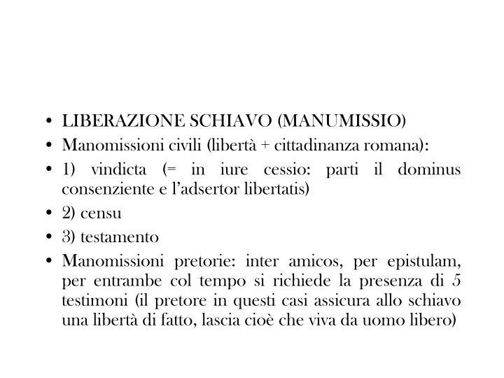 LIBERAZIONE SCHIAVO (MANUMISSIO)
