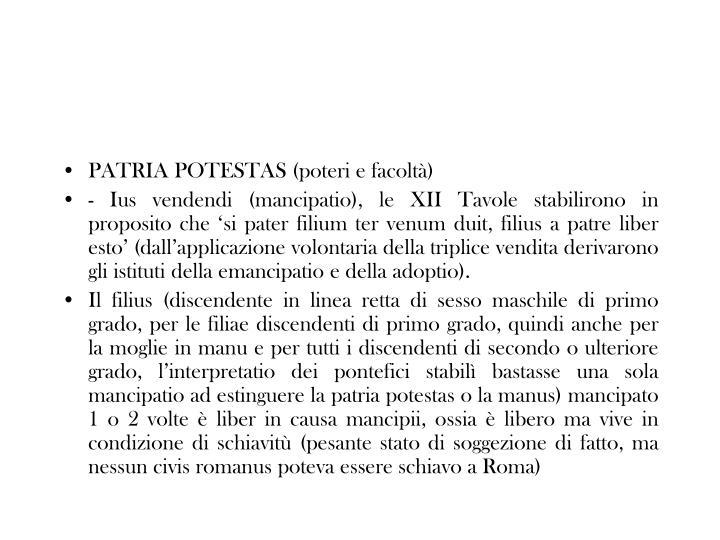 PATRIA POTESTAS (poteri e facoltà)