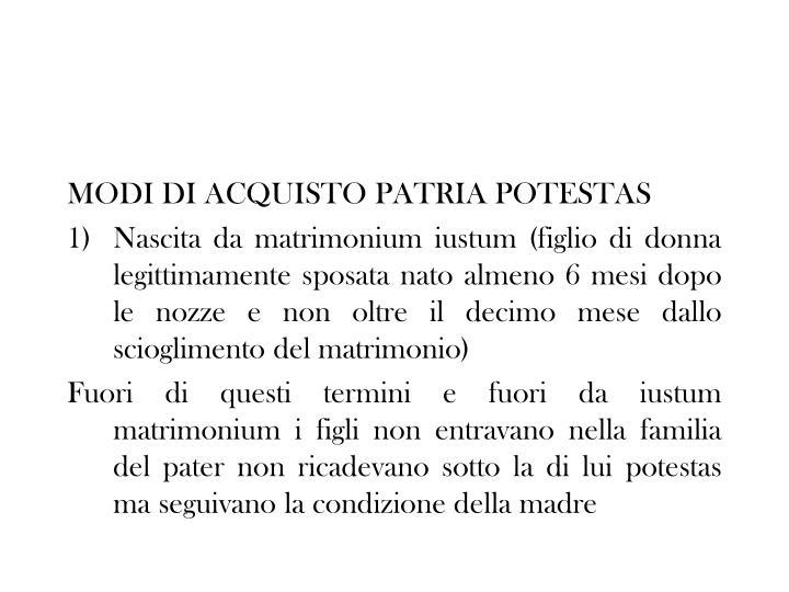MODI DI ACQUISTO PATRIA POTESTAS