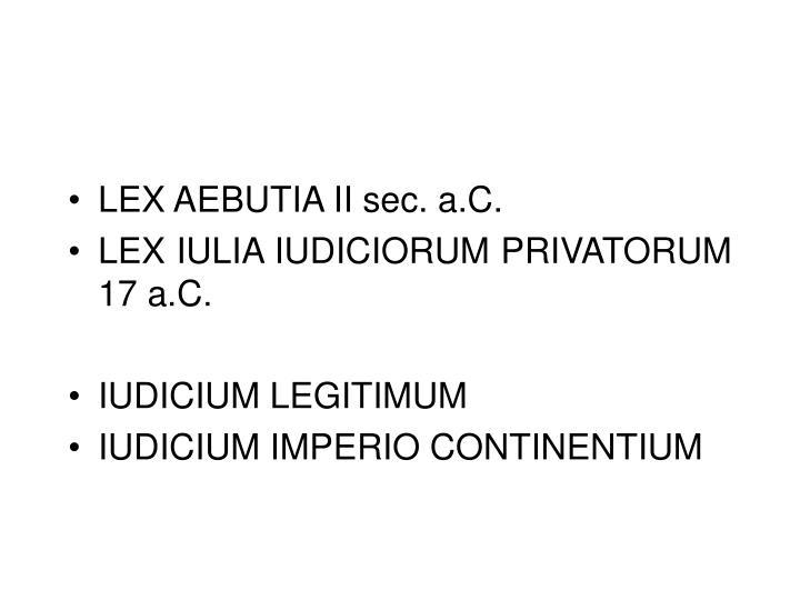 LEX AEBUTIA II sec. a.C.