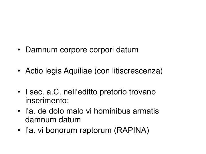 Damnum corpore corpori datum