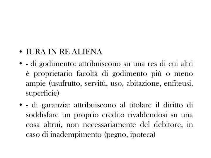 IURA IN RE ALIENA