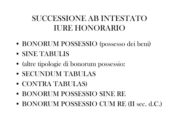SUCCESSIONE AB INTESTATO