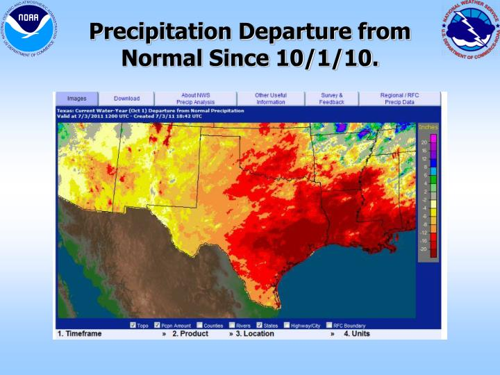 Precipitation Departure from Normal Since 10/1/10.