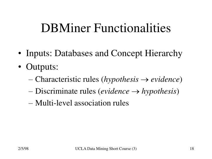 DBMiner Functionalities