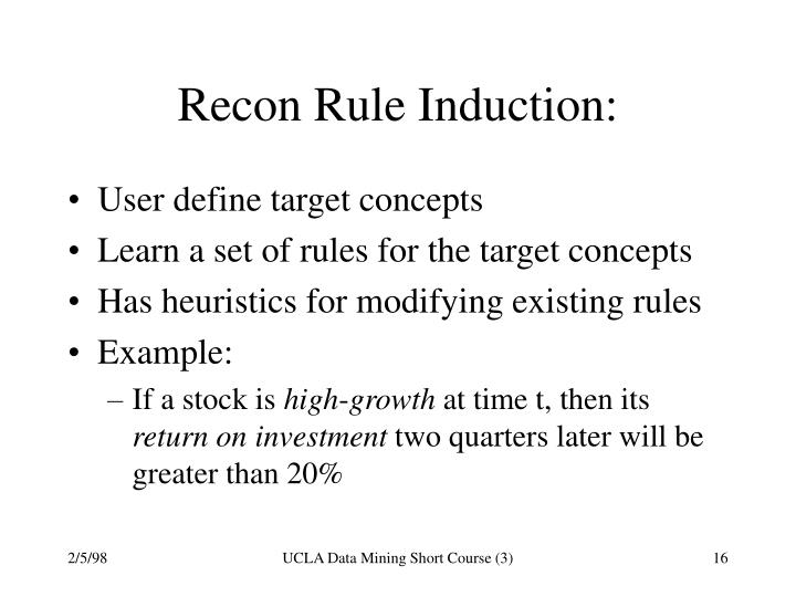 Recon Rule Induction: