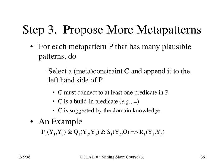 Step 3.  Propose More Metapatterns
