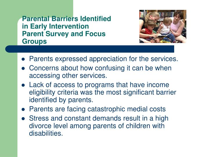 Parental Barriers Identified