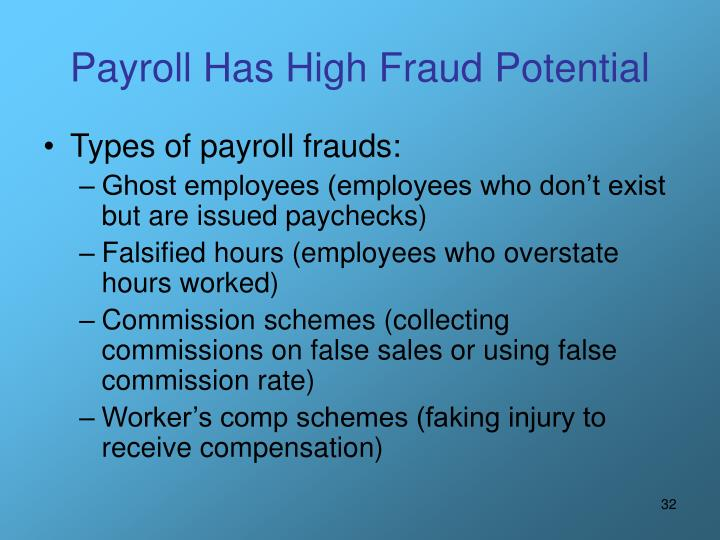 Payroll Has High Fraud Potential