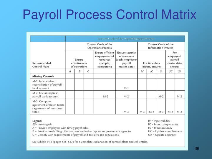 Payroll Process Control Matrix