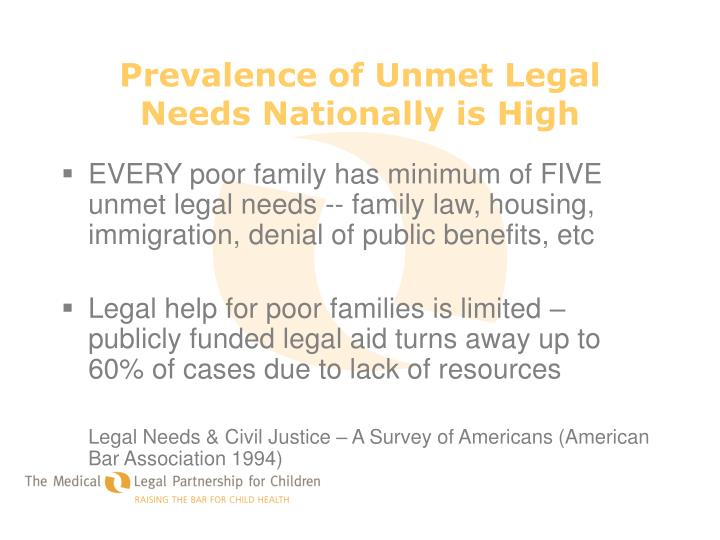 Prevalence of Unmet Legal Needs Nationally is High