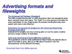 advertising formats and fileweights