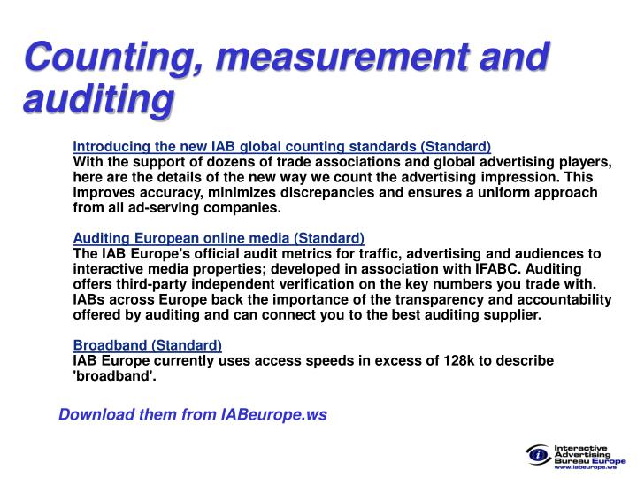 Counting, measurement and auditing