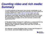 counting video and rich media summary1