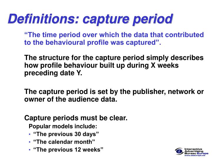 Definitions: capture period