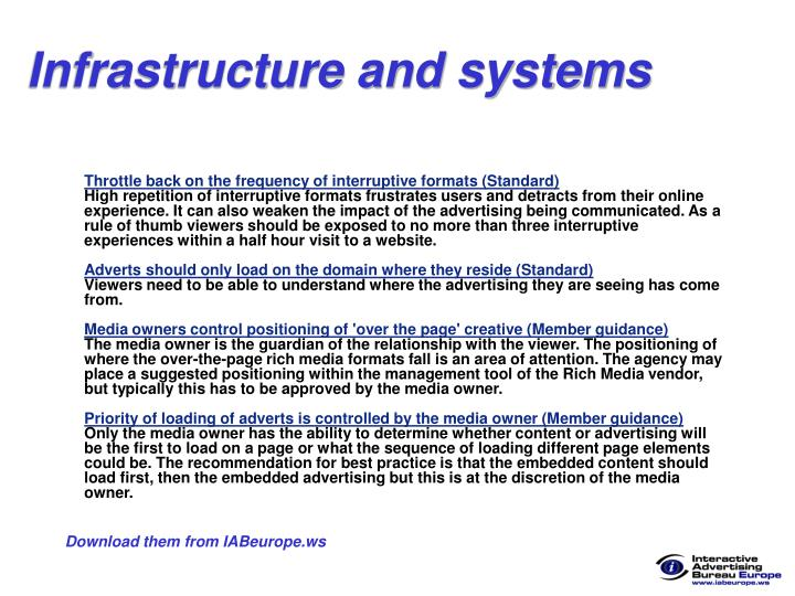 Infrastructure and systems