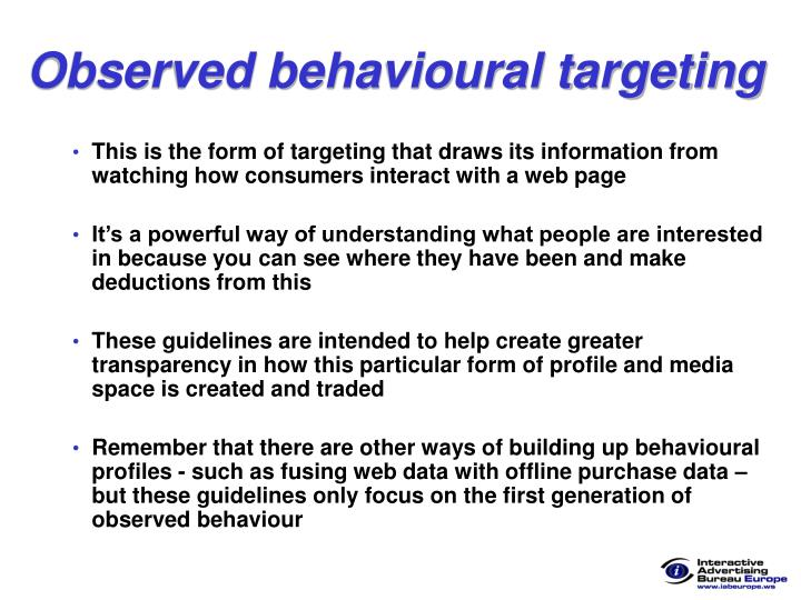 Observed behavioural targeting